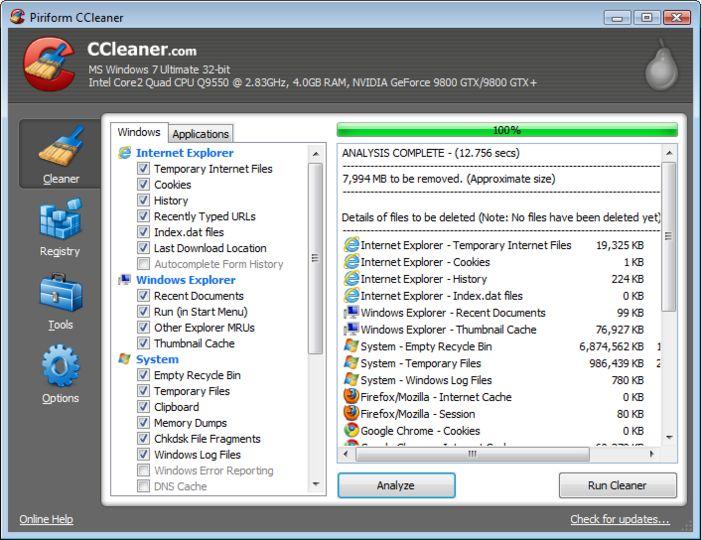 ������ CCleaner v3.09.1493 �� ���� ����� ����� ������� �������