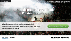Helsingin Sanomat pystytti huokoisen maksumuurin, kiertminenkin helppoa
